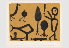 Paul Klee  'They All Run After Him'  1940              Coloured paste on paper on cardboard             32 x 42.4 cm