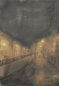 """Venice Canal Nocturne"" by Freddie Davies. 2015. Watercolour. http://freddie-davies.wix.com/artist"