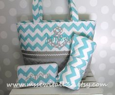 XL Quilted Aqua Chevron  Anchor Applique  Diaper by MsSewItAll32, $85.00