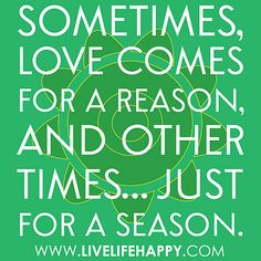 """""""Sometimes, love comes for a reason, and other times… just for a season."""""""