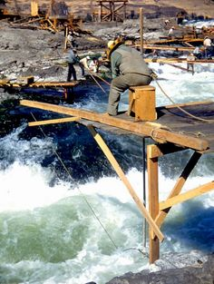 Fishing for salmon at Celilo Falls was a dangerous endeavor. Many fishers wore rope safety lines, because an untethered fall into the roiling waters was usually fatal. Photo: Matheny collection