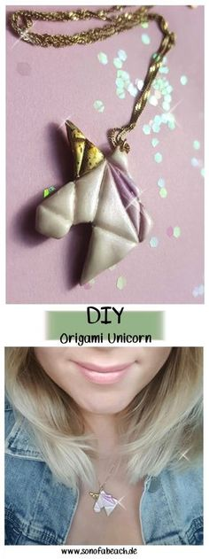 Fimo DIY - unicorn necklace with origami look (with video) ella mattsson - In this FIMO DIY I will show you how you can make a unicorn necklace in origami style yourself. Diy Jewelry Gifts, Diy Jewelry To Sell, Make Your Own Jewelry, Jewelry Tree, Jewelry Crafts, Diy Unicorn Necklace, Diy Necklace, Origami For Kids Animals, Origami Heart With Wings