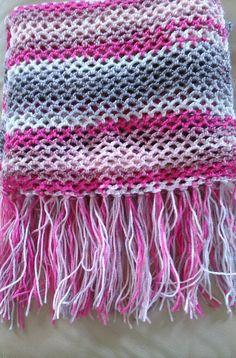 bufanda con flecos a crochet