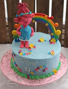 Trolls themed cake Cake is covered in blue buttercream Troll, rainbow and flowers are all fondant. 4th Birthday Cakes, Trolls Birthday Party, Troll Party, Purple Birthday, Beautiful Birthday Cakes, Beautiful Cakes, Bolo Trolls, Trolls Cakes, Cake Cookies