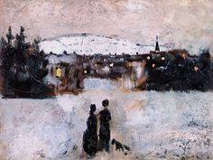 """Edvard Munch (1863 - 1944) """"Winter Landscape in Sunset"""" (1881-1882)"""