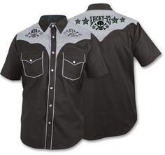 685685efa1e Skull Stars Men s S S Western Shirt Rockabilly Shirts