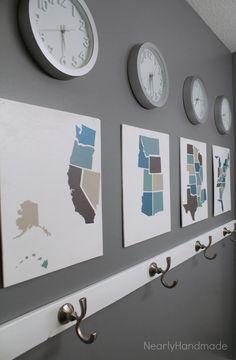 Nearly Handmade: Silhouette Challenge: Time Zone Bathroom Art