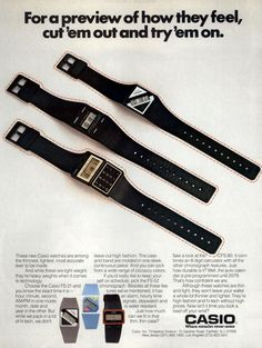 Cut'em out and try'em on, Casio Watches Casio Vintage Watch, Casio Watch, Advertising Archives, Print Advertising, Retro Watches, Vintage Watches, Vintage Advertisements, Vintage Ads, Casio Digital