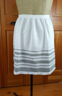 Vintage Apron, Hand Woven, White and Gray with Silver Metallic Thread, Half…