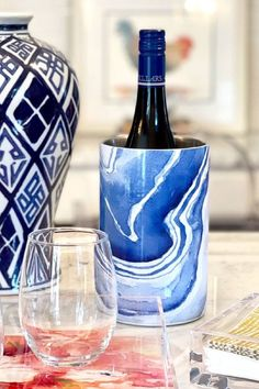 Raise the Bar with these new Wine Holders in blue and white agate design. Perfect for Entertaining at Home. Gift ideas for Wine Lovers as well.