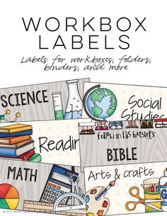 Workbox Labels   This FREE, editable resource was created to label homeschooling workboxes, but also works perfectly for classroom files too! Several versions are included.   everythingjustso.org