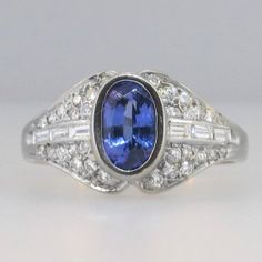 Lovely Estate Oval Tanzanite & Diamond Ring by YourJewelryFinder, $995.00