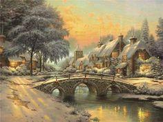 Волшебные зимние пейзажи, картины Томаса Кинкейда (Thomas Kinkade)
