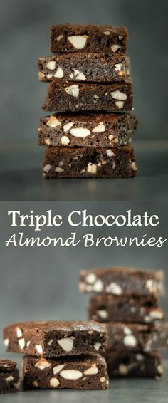 Triple Chocolate Almond Brownies..... Super rich in flavour, dense yet chewy in the middle, those brownies offer the perfect cross between cookie and a cake.