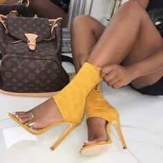 Add some edge to your look in these ankle stiletto heels that you can buy in mustard, black, nude and blue at Simmi Shoes. Hot Shoes, Shoes Heels, Heeled Sandals, Prom Heels, High Heel Pumps, Stiletto Heels, Stilettos, Platform Pumps, Giuseppe Zanotti Heels