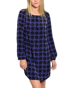 Look at this #zulilyfind! Black & Blue Houndstooth Shift Dress #zulilyfinds