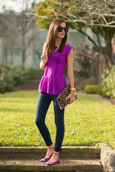 Glitter shoes, skinny jeans, purple peplum