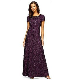 Completely covered in dimensional rosettes from the cap sleeves to the floor-sweeping skirt, this petite lace occasion gown is in bloom. By Alex Evenings Nylon, rayon, polyester Back zipper; Mother Of Groom Dresses, Mothers Dresses, Mother Of The Bride, Bride Dresses, Floral Dresses, Wedding Dresses, Petite Gowns, Petite Evening Gowns, Rose Gown