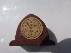 """Old Doll Mantle Clock Dollhouse Wood Kage Miniature Late 1930's 1"""" H #Kage"""