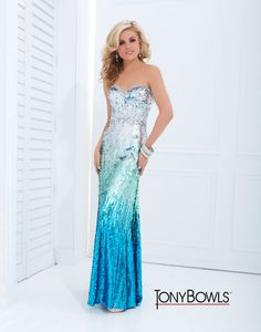 Tony Bowls Paris  »  Style No. 114731  »  Tony Bowls ombre sequin prom dress 2014