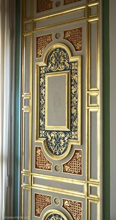 """Design Discover a breathtaking monumental """"papier peint panoramique"""" by Desfossé 1855 One of my favorite places to visit in Paris is the spectacular M. Doors, False Ceiling Living Room, Gate Design, Ceiling Design, Ceiling, Door Design, Wooden Main Door, Wall Design, Decorative Painting"""