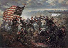 """1864 - """"Hasta el mismo Infierno"""", El teniente coronel Charles L. Chandler reuniendo al 57º de Infantería de Massachusetts en Ox Ford, 4 de mayo de 1864. Artista Donna J. Neary."""