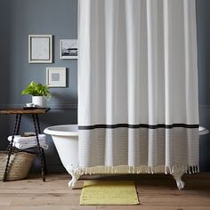 West Elm Striped Shower Curtain Cream with Gray and Citron