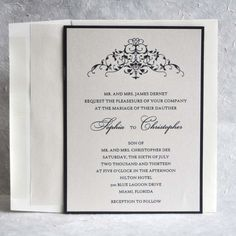 Wedding Invitations Two layers Opal and  Black