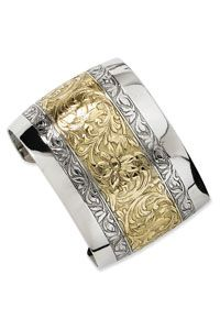 Gold-Tone and Silver-Tone Floral Cuff Bangle $36.00 http://www.celebrateyourfaith.com/Gold-45-Tone-and-Silver-45-Tone-Floral-Cuff-Bangle-P11139C82.cfm