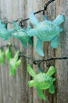 Light up the night with adorable electric sea turtle string lights to enhance your sea theme party decor. Use inside in the bar area to add some atmosphere, or spruce up the exterior to get your guests excited as they arrive. Turtle Birthday, Turtle Party, Water Birthday, Luau Birthday, Birthday Ideas, Ocean Themes, Beach Themes, Turtle Time, Do It Yourself Design