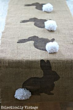 Burlap Bunny Table Runner:  Delight your friends and family this Easter with this adorable piece for your holiday table.