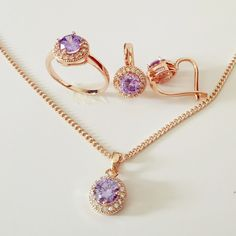 Luxurious Wedding Jewelry Sets 585 Gold Jewelry Women Lavender Jewelry Necklace and Earring New Jewelry Sets for Bridal