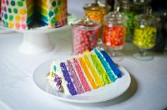 Playful Rainbow Butterfly Princess Party with a rainbow polka dot dessert table, butterfly sequin masks & wands, rainbow layered cake and rainbow tutus! Rainbow Loom Party, Rainbow Candy, Rainbow Parties, Rainbow Birthday, 5th Birthday, Birthday Parties, Rainbow Butterfly, Butterfly Party, Rainbow Chevron