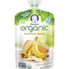 Gerber Organic 2nd Foods Baby Food, Banana Squash, 3.5 oz Pouch (Pack of 12)