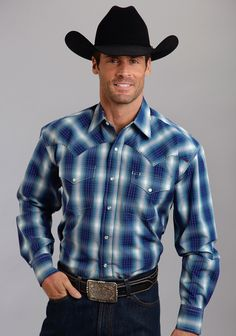 Stetson Blue Plaid Ombré Snap Button-Up - Men's Regular Cowboy Outfits, Western Outfits, Western Wear, Mens Cowboy Shirts, Western Shirts, Hot Country Boys, Scruffy Men, Cowboys Shirt, Country Shirts