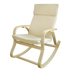 SoBuy FST15-W, Comfortable Relax Rocking Chair, Lounge Chair with Cream Cotton Fabric Cushion