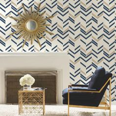 Accent Wallpaper, Striped Wallpaper, Wallpaper Decor, Wallpaper Roll, Peel And Stick Wallpaper, Living Room Wallpaper Accent Wall, Wallpaper Ideas, Modern Wallpaper, Gold Chevron Wallpaper