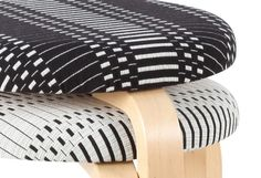 Aalto Stool 60 with Johanna Gullichsen's fabric Helios # design-ikonik.com