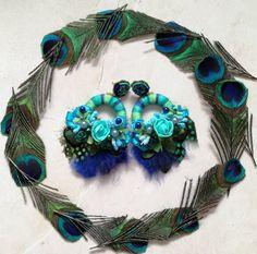 Peacock, Jewelery, Feather, Hoop Earrings, Beads, Awesome, Handmade, Etsy, Fashion