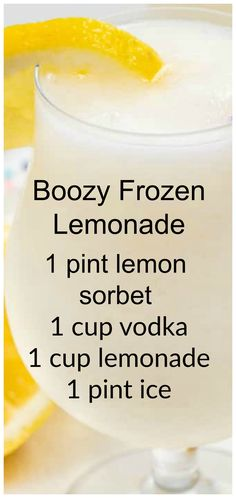 Boozy Frozen Lemonade ~ Lemonade Vodka Slush is a good and refreshing cocktail for parties! Boozy Frozen Lemonade is made with vodka or rum for the best summer cocktail recipe! Lemonade Vodka Slush is a good and refreshing cocktail for parties! Summertime Drinks, Summer Drinks, Fun Drinks, Alcoholic Drinks, Mixed Drinks, Beverages, Party Drinks, Cocktails For Parties, Cocktail Drinks