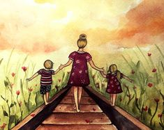 Mother and two children our path art print gift idea mother's day by claudiatremblay on Etsy Mother Daughter Art, Mother Art, Mother And Child, Mothers Day Drawings, Claudia Tremblay, Tattoo Mutter, Sarra Art, Art Mural, Second Child