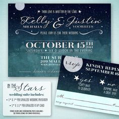 Love Written in the Stars Wedding Invitation - Starry Night Wedding Invitation and RSVP Card - Retro Wedding Invitation Suite Printable - $25 - Project Cottage Ink