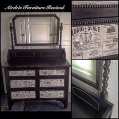 @generalfinishes Lamp Black and vintage style wallpaper on this lovely antique dresser