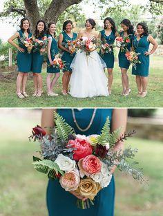 short green blue bridesmaid dresses