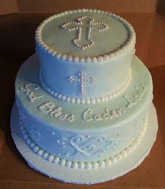 The Is A Baptism Cake Made With Crusting Buttercream Frosting With Pearl Accents