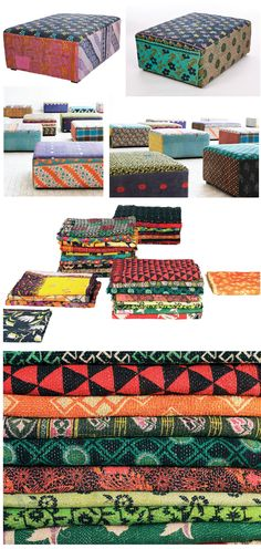 Hottest trend in interior decor - different panels of fabric upholstery - it will take a short while before it filters into the mainstream.  Danish design firm, Hay. Each ottoman is handmade from 4-5 layers of vintage saris creating these unique patterns and colorations. Hay has also chosen vintage saris to produce the antique handmade quilts shown above.