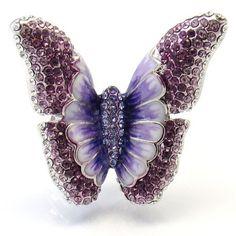 Swarovski Crystal Ring,Size 7,8,9,Amethyst Jewelry, Butterfly Ring  | Martaky - Jewelry on ArtFire