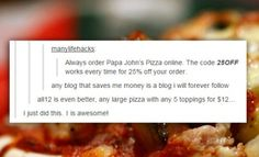 Save Money Ordering Pizza