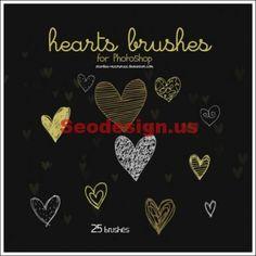 Photoshop Brushes - Cute Hearts Photoshop Brushes Free #photoshop #hearts #brushes