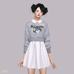 /SIMS4 CC/   /Please refer to the notice on the bottom (TOU)/    스웨터와 셔츠가 붙어있는 원피스입니다.                         download links are via the...